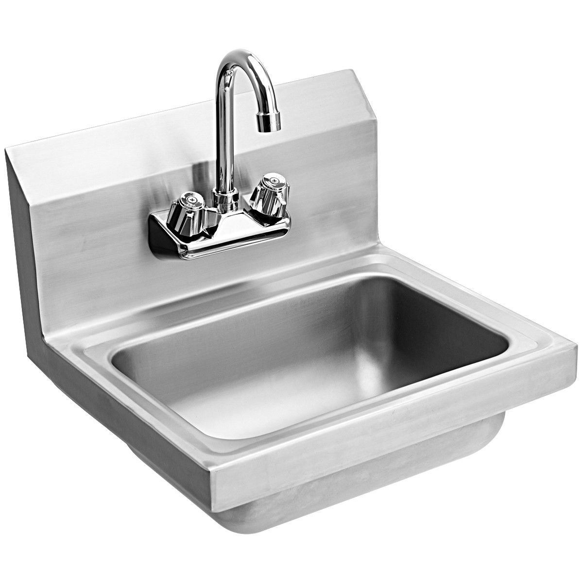 Stainless Steel Hand Wash Sink Washing Wall Mount Commercial