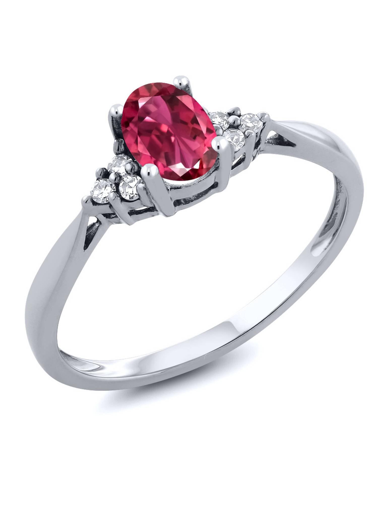 Women's 14K White Gold Pink Tourmaline and Diamond Ring by