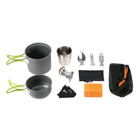 Outdoor Camping Cookware 8 Piece Pot Stove Set Backpacking Cooking Picnic Camping Cookware Tableware Kit with Folding Spoon Fork Cutter Cup - Cooking Kit