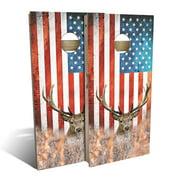 American Flag Deer Cornhole Board Set - Choose Your Size & Accessories
