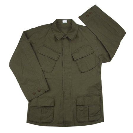 (Vintage Olive Drab Rip Stop Vietnam Fatigue Shirt, Reproduction)