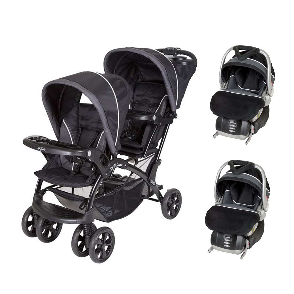Baby Trend Double Sit N Stand Stroller + 2 FlexLoc Infant Car Seats & Bases-Onyx by Baby Trend