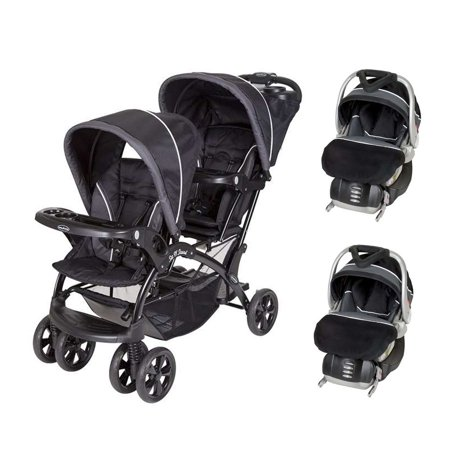 baby trend double sit n stand stroller 2 flexloc infant car seats bases onyx. Black Bedroom Furniture Sets. Home Design Ideas