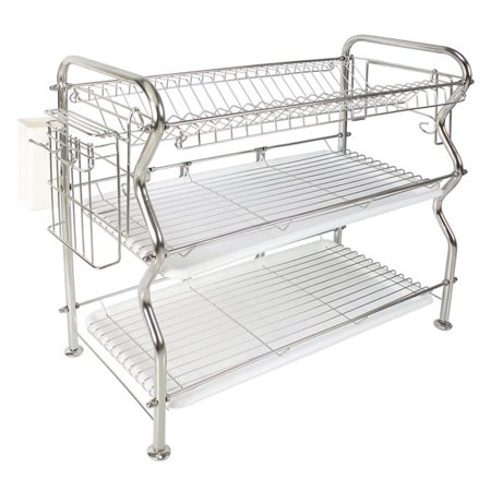 NEX Stainless Steel 3-Tier Dish Draining Rack With Utensil Holder, Draining Pan, Adjustable, Cutting Board Holder, Large and Spacious (NX-BOWLSHELF05)