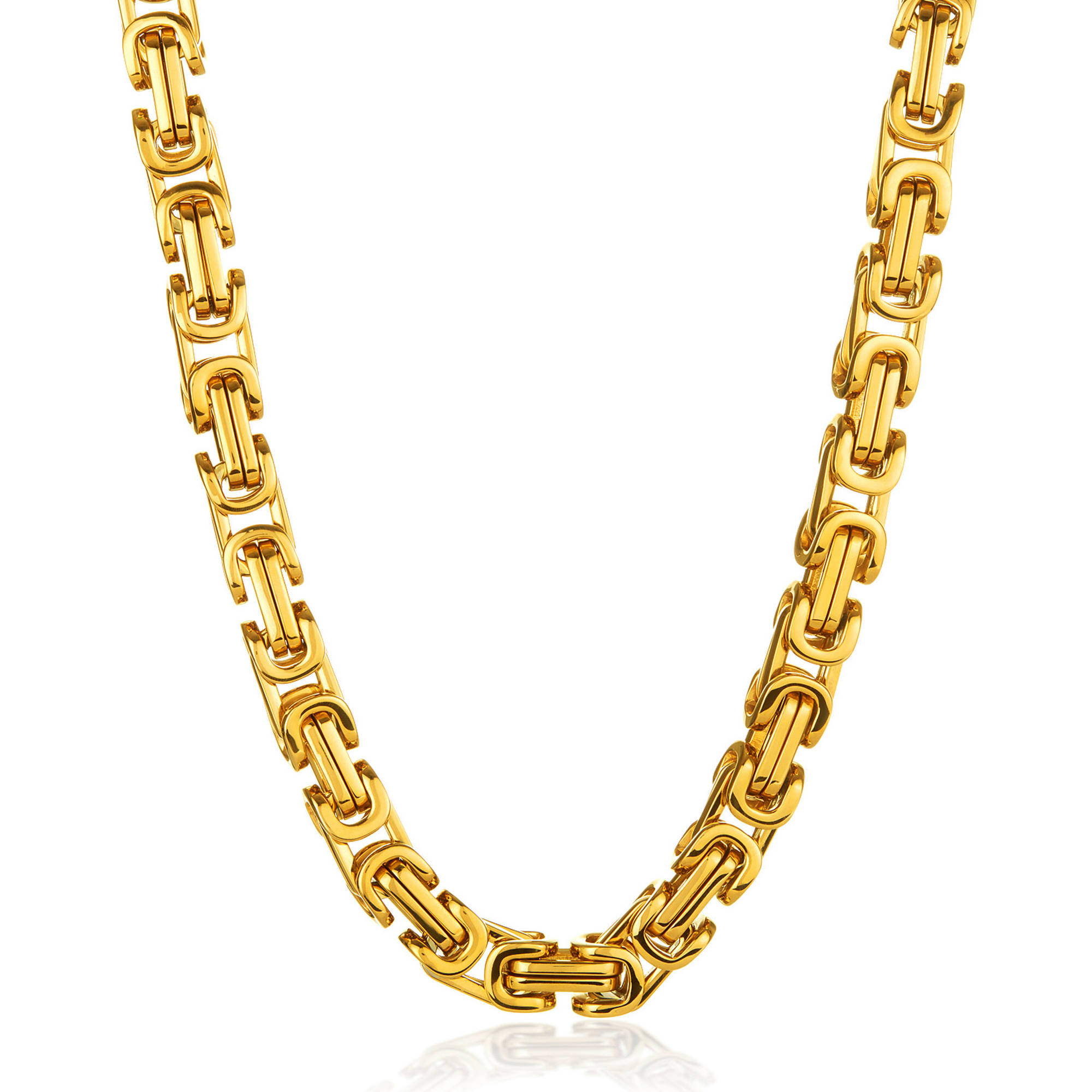 """Crucible Men's High-Polished Gold IP Stainless Steel Byzantine Chain Necklace (17mm), 30"""" by West Coast Jewelry"""