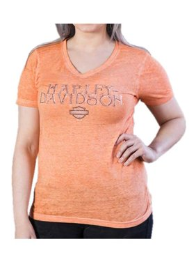687e3280 Product Image Harley-Davidson Women's Sweet Sugar V-Neck Burnout Tee Shirt,  Coral Reef (