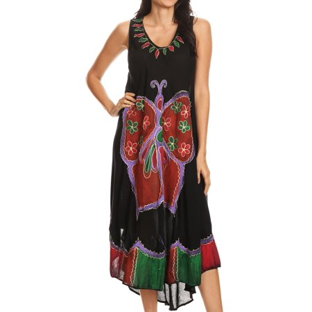- Sakkas Keola Women's Maxi Caftan Bathing Suit Cover Up Summer Dress Sleeveless - Black - One Size Regular
