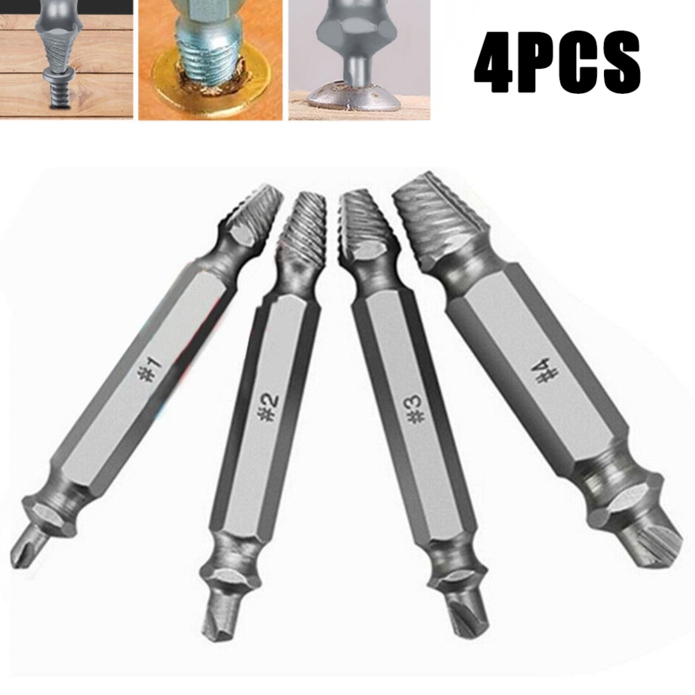 4x Mini Screw Easy-Out Extractor Broken Damaged Bolt Remover Drill Bit Tool