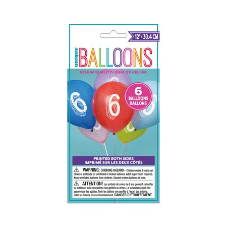 12' Assorted Number (Latex Chalk Design Number 6 Balloons, Assorted, 12 in, 6ct)