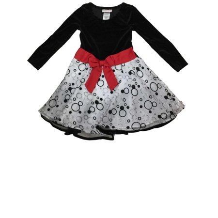 26f77bd8f48 Ashley Ann - Big Girls White   Black Glitter Spotted Velvet Holiday Party Flower  Girl Dress - Walmart.com