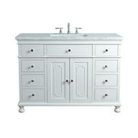 Stufurhome Abigail Embellished 48 Inches White Single Sink Bathroom Vanity
