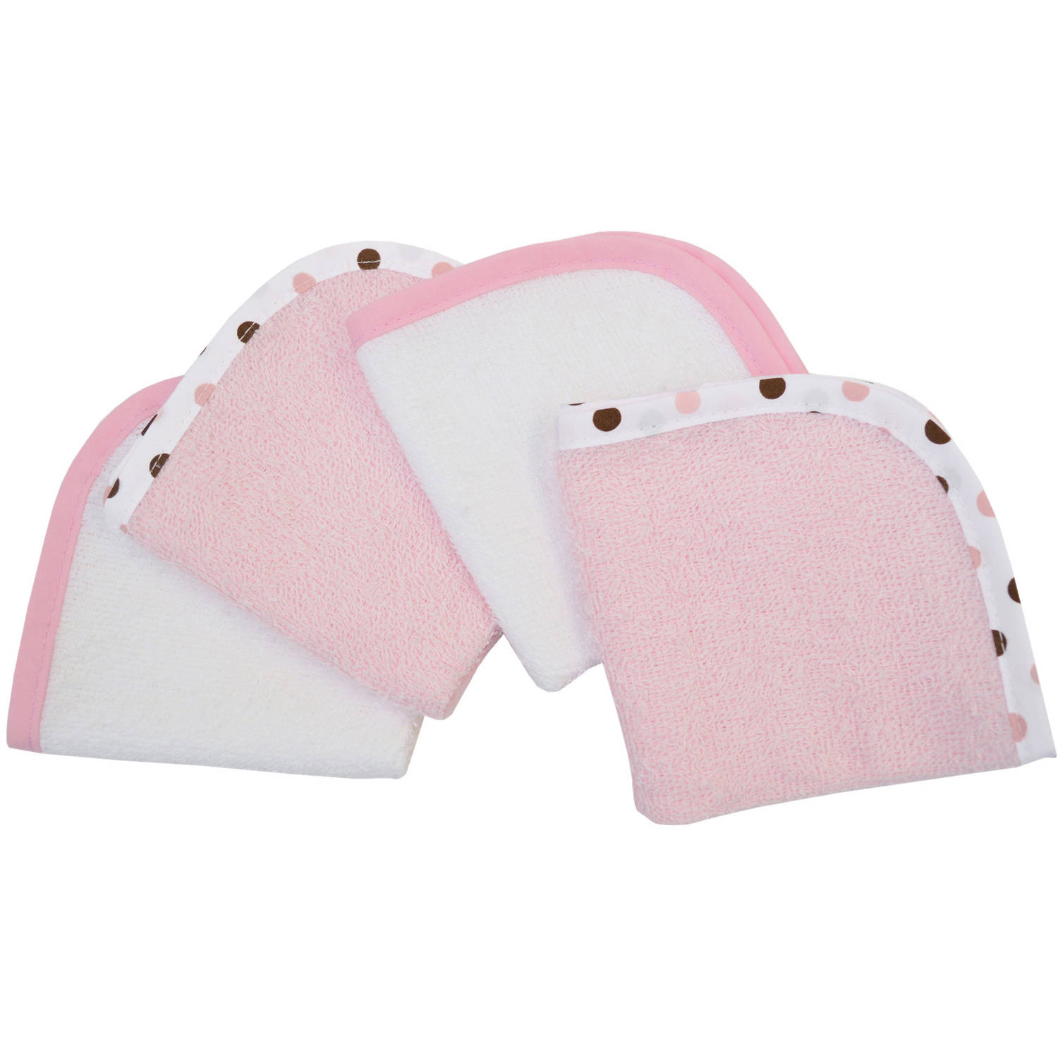 TL Care 4-Pack 100 Percent Organic Cotton Terry Washcloths, Pink