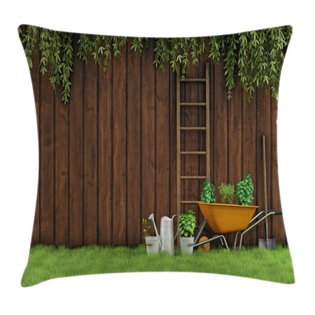 Farm House Decor Throw Pillow Cushion Cover, Gardening Material Tools on the Backyard with Shovel and Bucket Print, Decorative Square Accent Pillow Case, 18 X 18 Inches, Green Brown, by Ambesonne