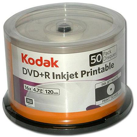 Kodak DVD+R 4.7GB 50 Pack Spindle, White, Ink Jet Printable