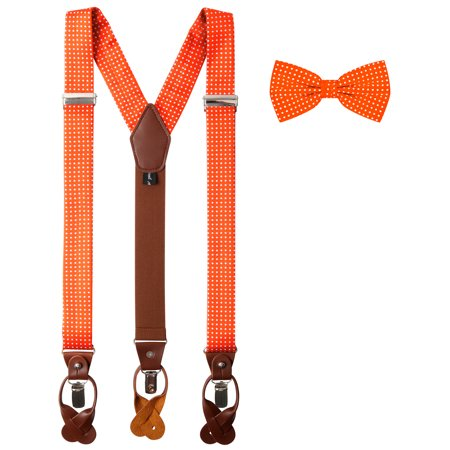 Jacob Alexander Matching Polka Dot Suspenders and Bow Tie (Pink Bow Tie And Suspenders)