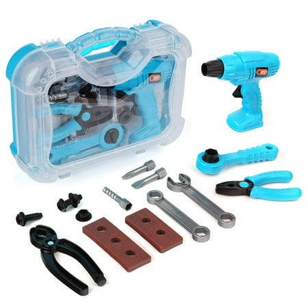 Kids Play Pretend Toy Tool Set Workbench Construction Workshop Toolbox