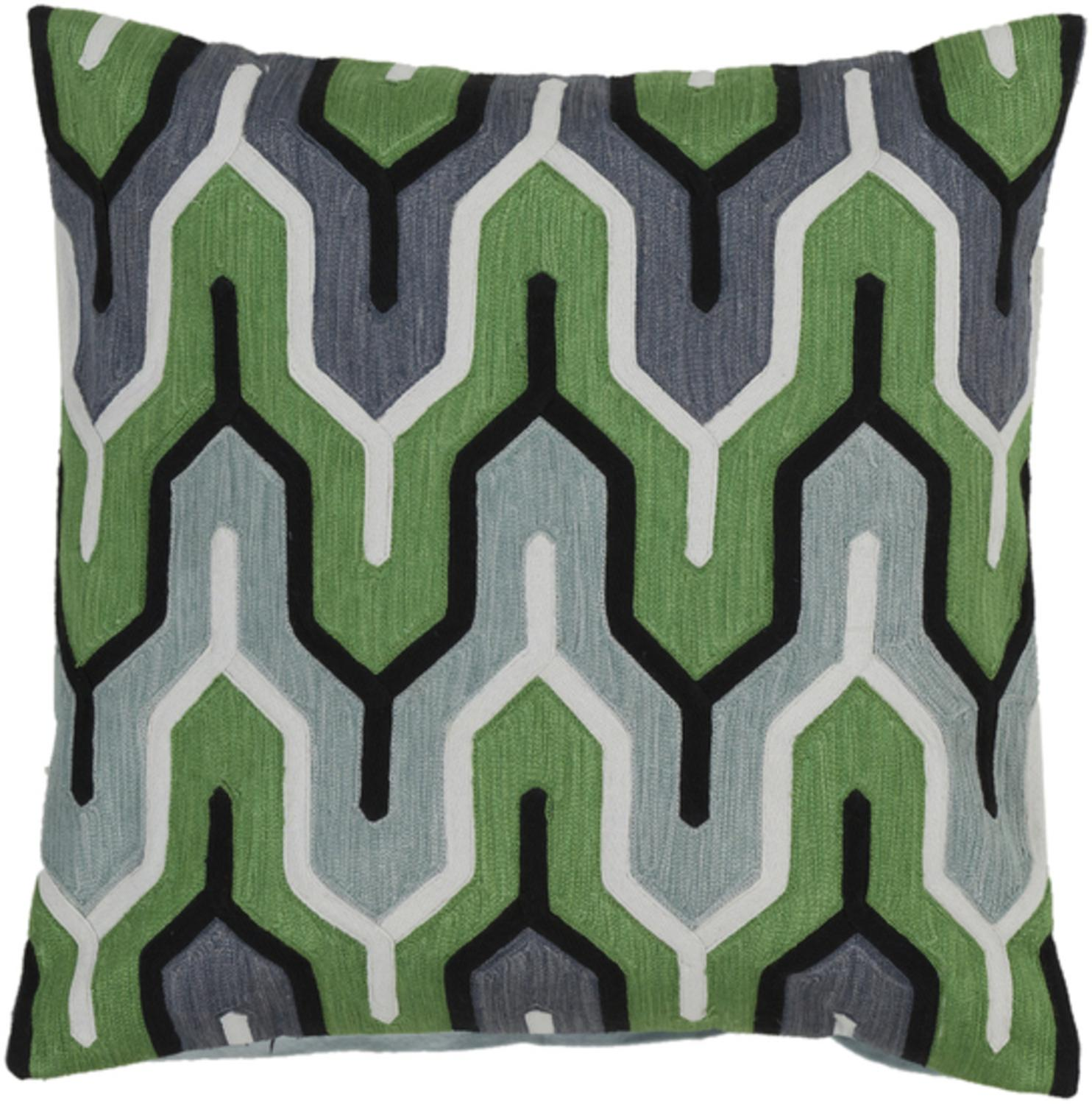 "18"" Belvedere Stripes Green, Ivory and Gray Decorative Square Throw Pillow Down Filler by Diva At Home"