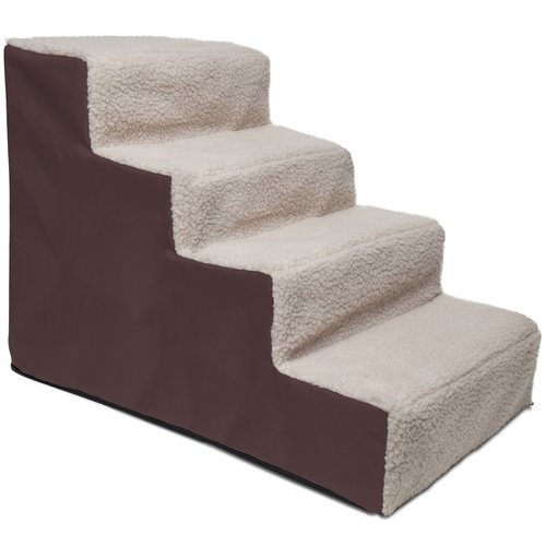 OxGord Dog and Cat Pet Stairs 4 Steps - Up to 200 lb. Capacity