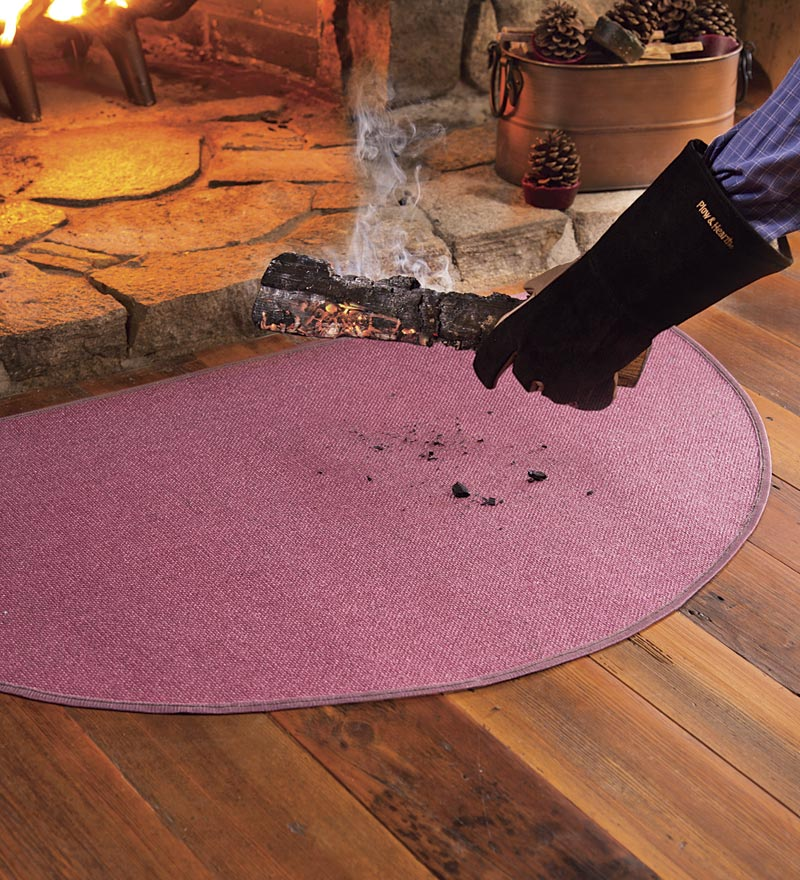 "Flame-Resistant Half-Round Hearth Fireproof Rug 32"" x 60"""