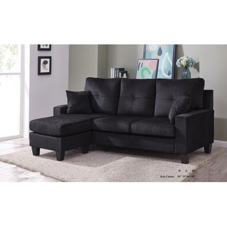 Sectional sofa set black fabric tufted cushion sofa chaise small space living room furniture - Small couch with chaise ...
