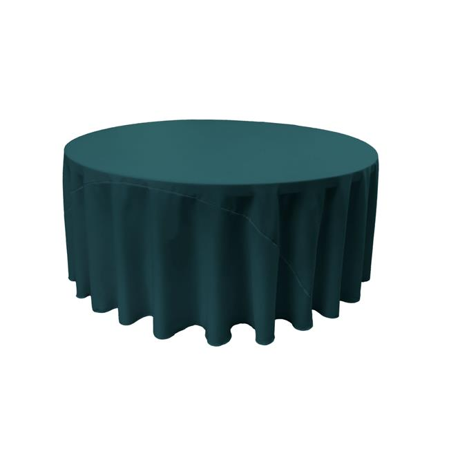 LA Linen TCpop120R-TealDrkP82 Polyester Poplin Tablecloth, Dark Teal 120 in. Round by