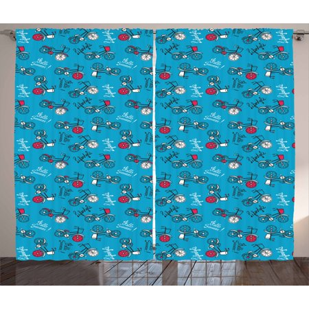 Bicycle Curtains 2 Panels Set, Colorful Retro Bicycles on a Blue Background with Hello Summer Lifestyle Prints, Window Drapes for Living Room Bedroom, 108W X 90L Inches, Multicolor, by Ambesonne