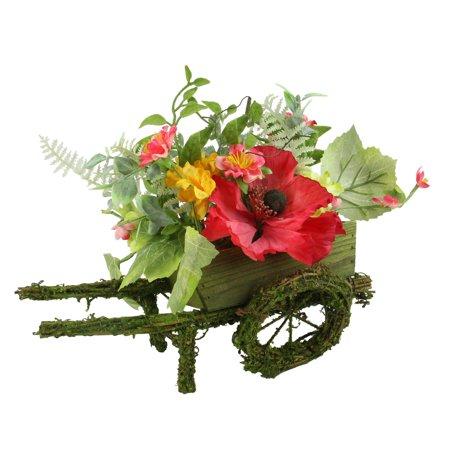 """12"""" décoratif pavot rouge et orange Fleur sauvage artificielle florale Brouette table Décoration - image 1 de 1"""
