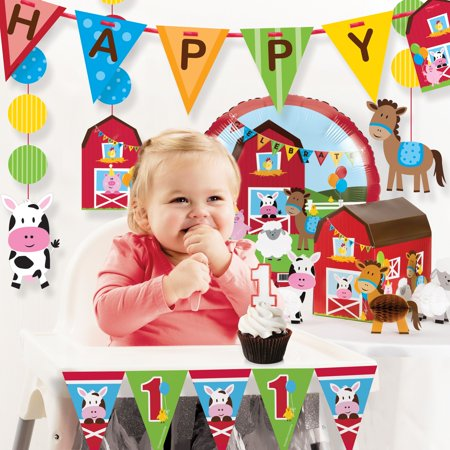 Farm Fun 1st Birthday Party Decorations Kit