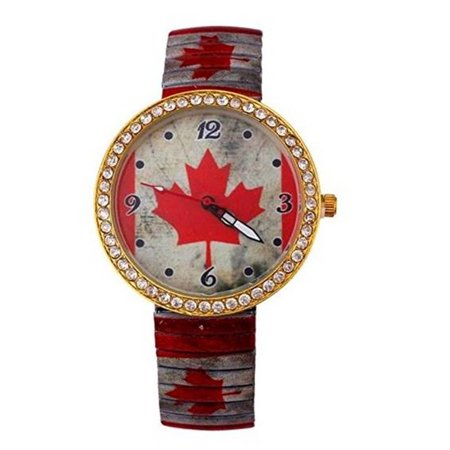 Canada Style Crystal Stretch Metal Band Watch Red Leaf Canadian Flag  Watch-251 (Roots Canada Watch)
