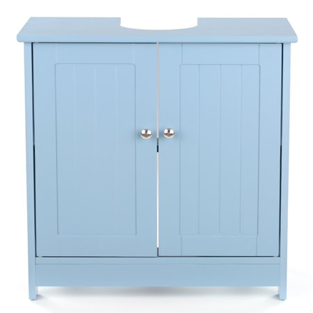iKayaa Modern Under Sink Storage Cabinet with Doors Bathroom Vanity Furniture 2 Layer Organizer White/Blue ()