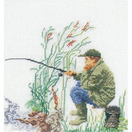 Fishing On Aida Counted Cross Stitch Kit-6-.25 in. X6-.25 in. 18 Count - image 1 de 1