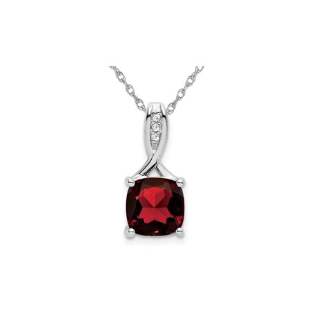 2.00 Carat (ctw) Cushion-Cut Garnet Pendant Necklace in 14K White Gold with Chain