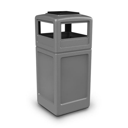 Commercial Zone Products 73300399 42-gallon Square Waste Container with Ashtray Dome Lid Gray