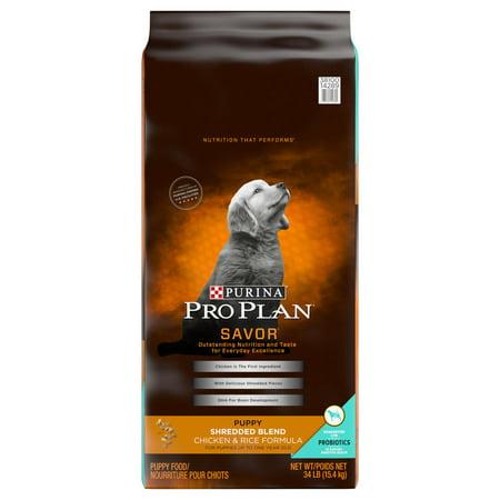 Purina Pro Plan SAVOR Shredded Blend Chicken & Rice Formula Dry Puppy Food - 34 lb. Bag
