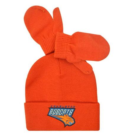 Nba Knit Hat Beanie Mittens 2 Two Set Charlotte Bobcats Orange Toddler
