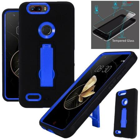 For ZTE Blade Z Max (MetroPCS) / ZTE ZMax Pro 2 / ZTE Grand X Max 4 / ZTE  Sequoia Case + Tempered Glass Symbiosis Armor Hybrid Silicone Phone Cover  w/