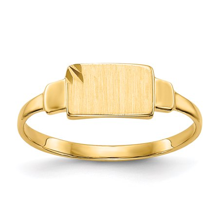 14K Yellow Gold Baby and Children Signet Ring, Size 3