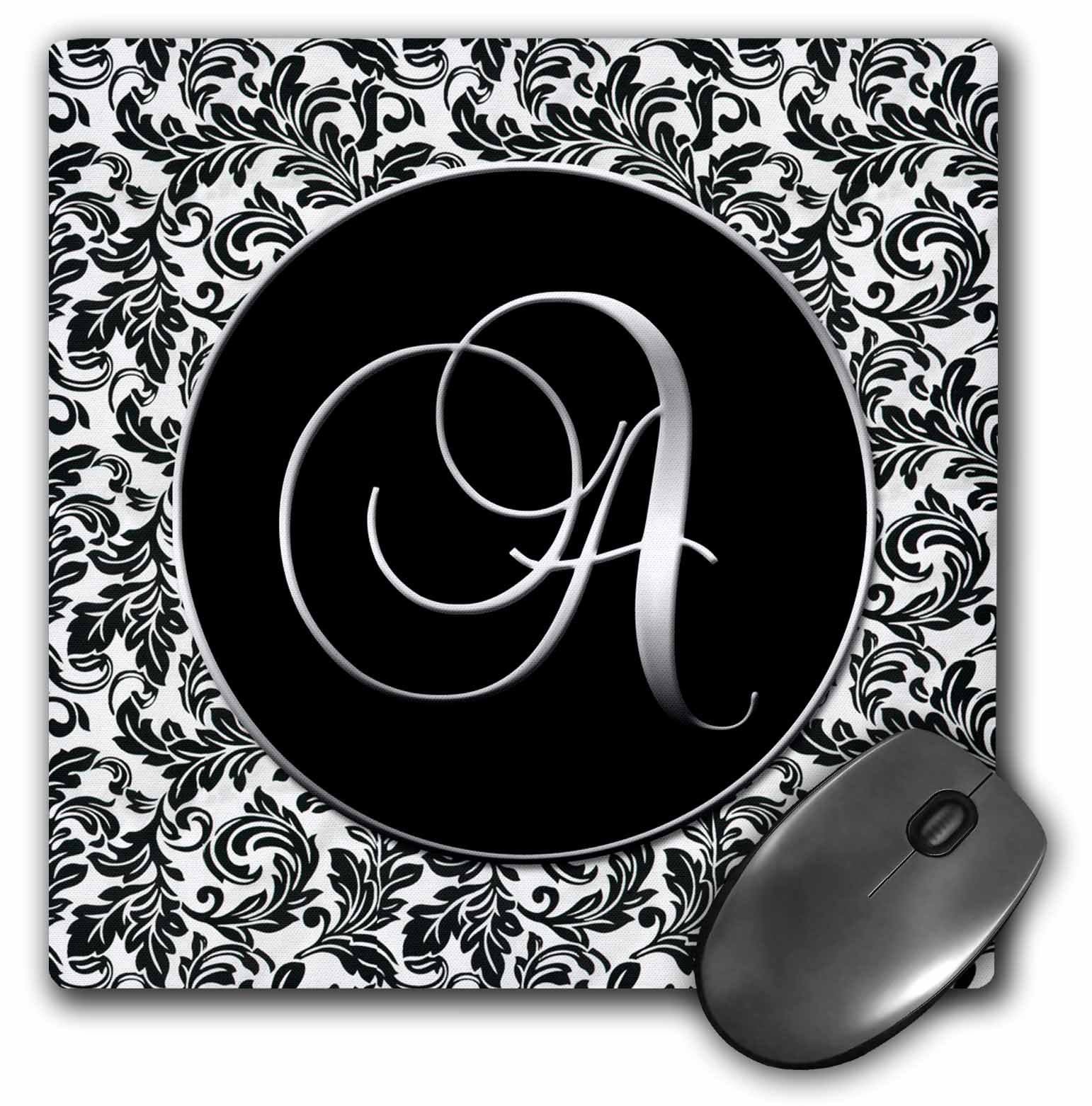 3dRose Letter A - Black and White Damask, Mouse Pad, 8 by 8 inches