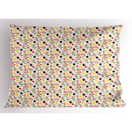 Case Caviar - Sushi Pillow Sham, Colorful Illustration of Traditional Japanese Cuisine with Soybean Wasabi and Caviar, Decorative Standard Size Printed Pillowcase, 26 X 20 Inches, Multicolor, by Ambesonne