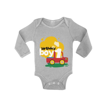 Awkward Styles Birthday Boy Baby Bodysuit Long Sleeve Toy Truck Gifts for 1 Year Old Baby Boy 1st Birthday Party One Piece Top Truck Themed Birthday Party for Baby Boy First Birthday Party Outfit](Boy Themed Party)