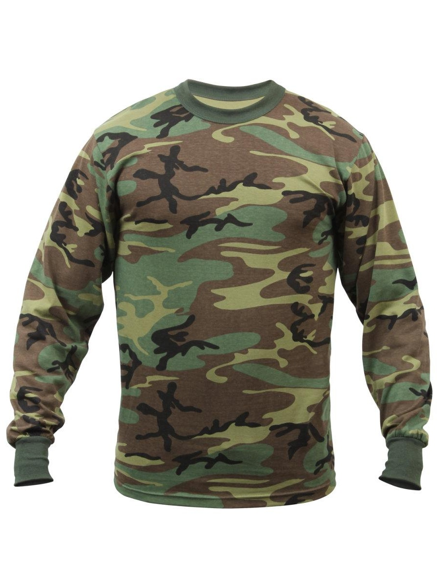 Men's Long Sleeve T-Shirt Woodland Camo