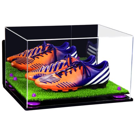 Acrylic Shoe Displays - Deluxe Acrylic Large Shoe Pair Display Case for Basketball Shoes Soccer Cleats Football Cleats with Mirror, Wall Mount, Purple Risers and Turf Base (A082-PR)