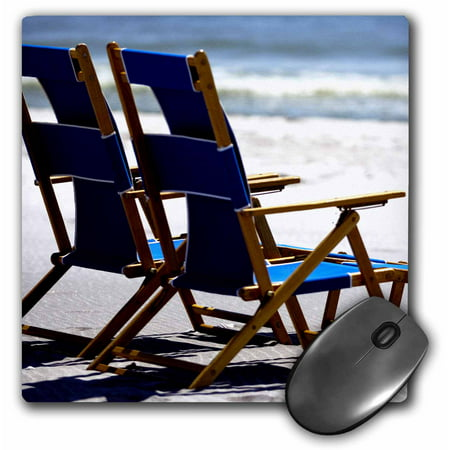 3dRose Beach Chairs, Umbrella, Ship Island, Mississippi - US25 FVI0023 - Franklin Viola, Mouse Pad, 8 by 8 inches