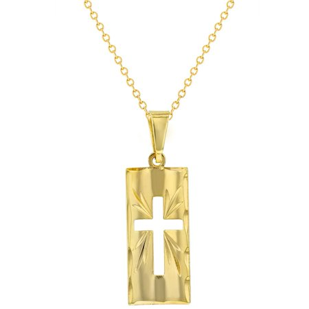"""18k Gold Plated Curved Cross Medal Religious Pendant Necklace Girls Ladies 19"""" - image 4 of 4"""
