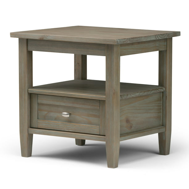 Brooklyn + Max Lexington Solid Wood 20 inch Wide Rectangle Rustic End Side Table in Distressed Grey
