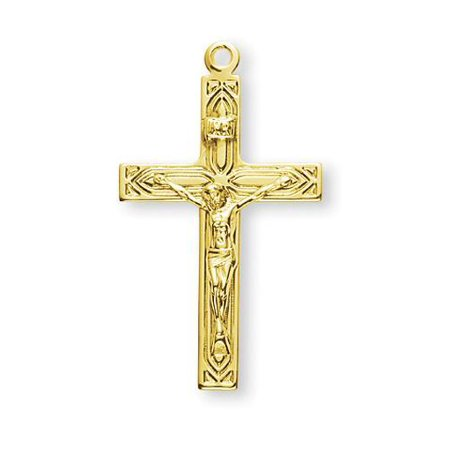 Gold Over Sterling Silver High Polished Art Deco Crucifix