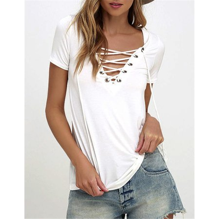Fashion Womens Loose Pullover T Shirt Short Sleeve Cotton Tops Shirt Blouse White