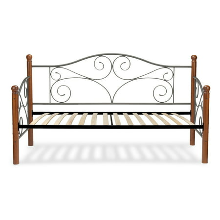 Doral Complete Metal Daybed with Euro Top Spring Support Frame and Scrolled Spindle Panels, Matte Black Finish, Twin