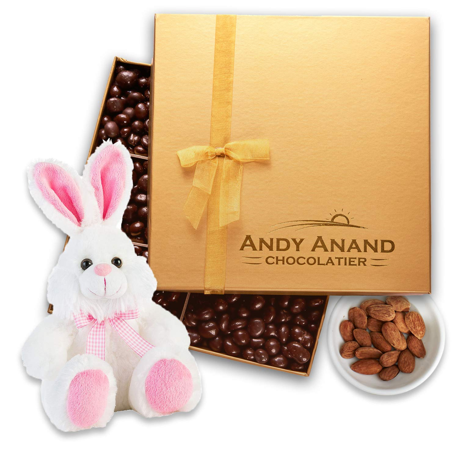 "Andy Anand's Chocolates - Easter Bunny Pink 13"" with Premium California Almonds covered with Gourmet Chocolate in Gift Basket, All-Natural and Certified Made from Natural Ingredients (1 lbs"