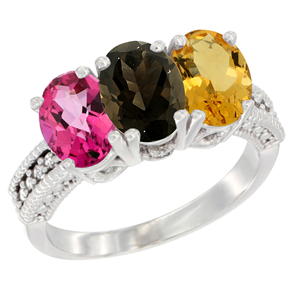 10K White Gold Natural Pink Topaz, Smoky Topaz & Citrine Ring 3-Stone Oval 7x5 mm Diamond Accent, sizes 5 10 by WorldJewels
